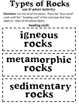 types of rocks worksheet pdf