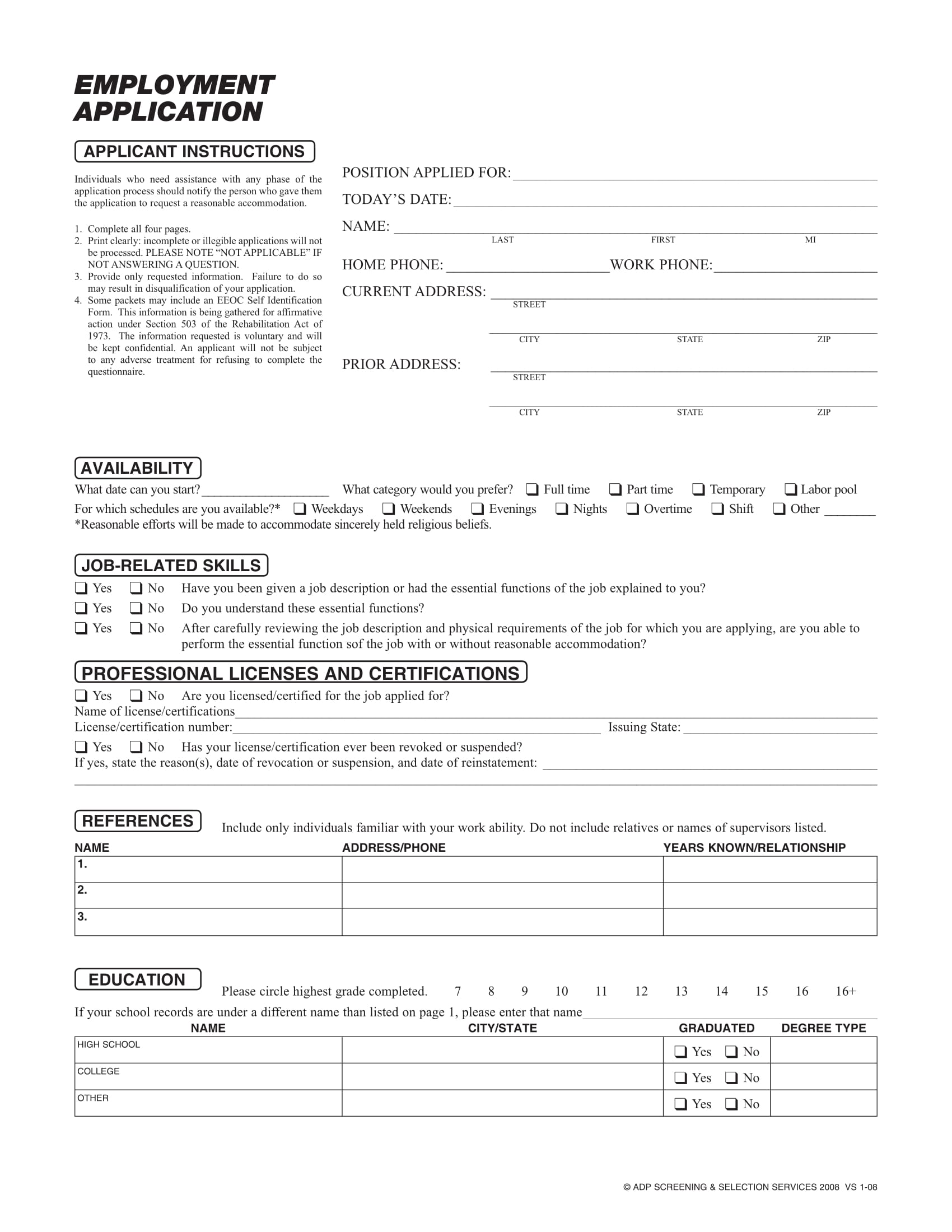 sandf application forms for employment