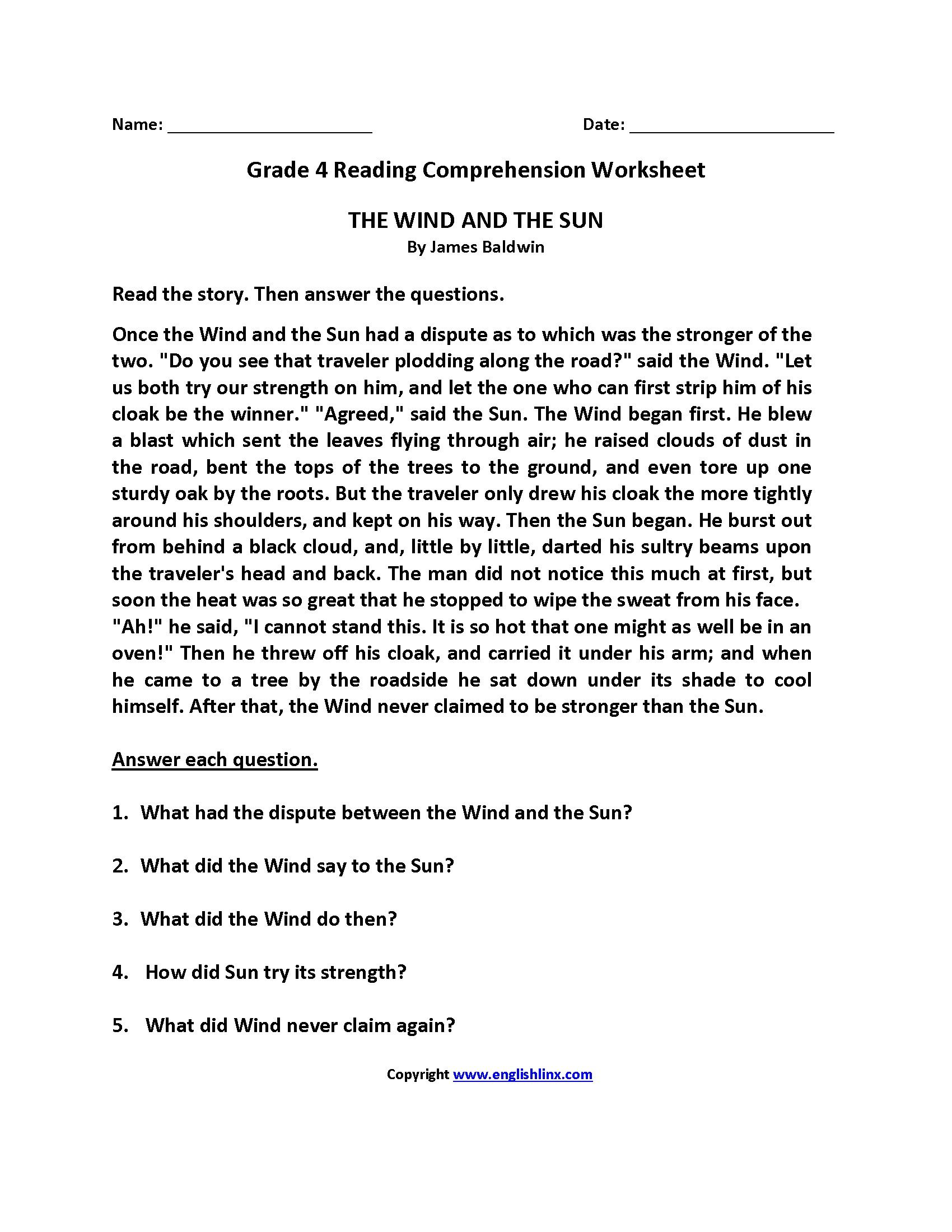 reading comprehension worksheets grade 9 pdf