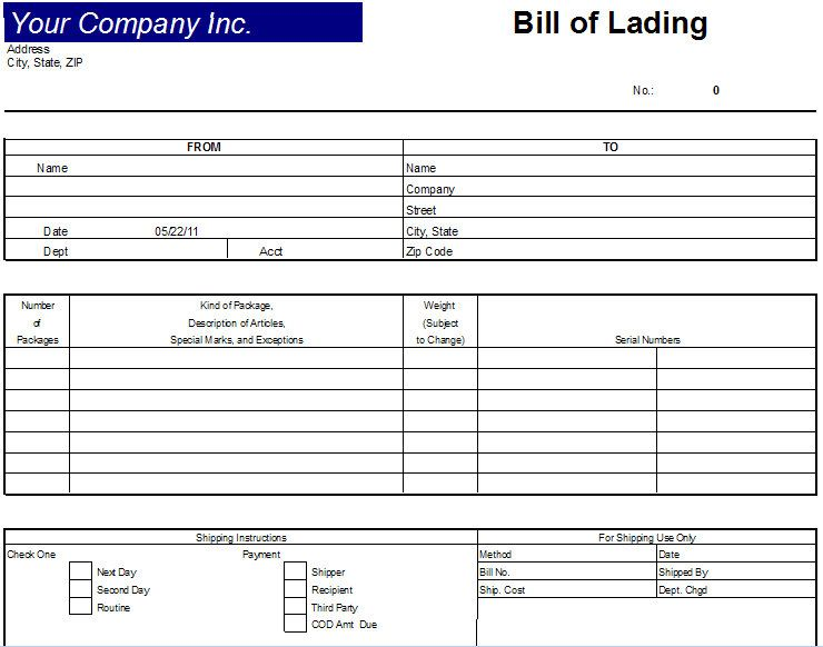 printable sample bill of lading terms template