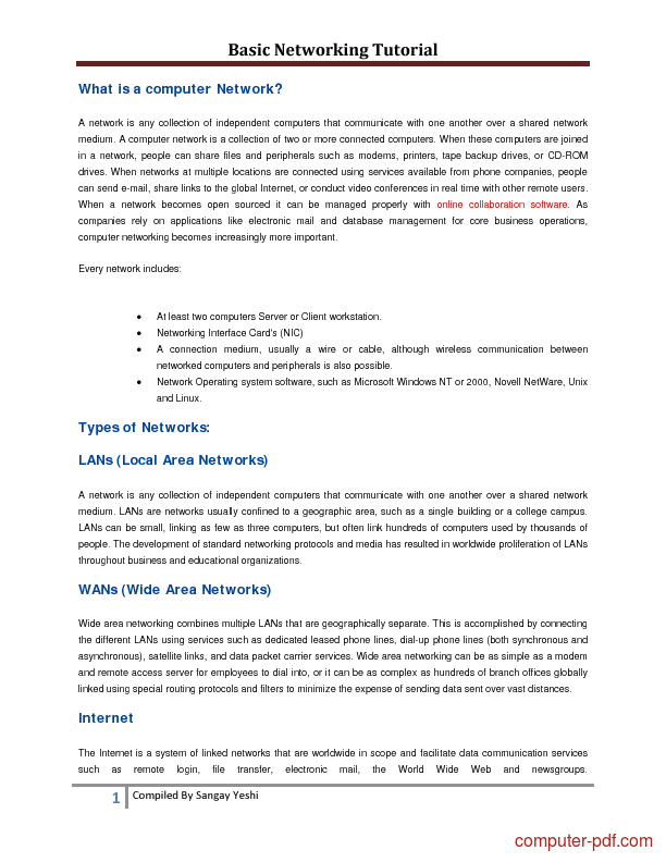 networking tutorial for beginners pdf
