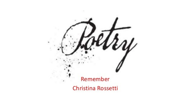 remember rossetti poem analysis pdf