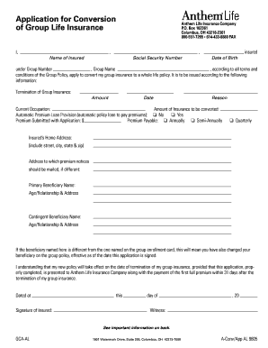 Sample life insurance application form