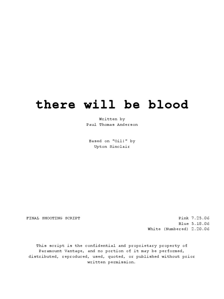 there will be blood script pdf
