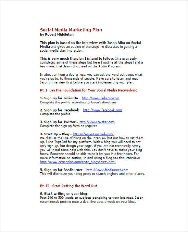 what is included in a media plan pdf